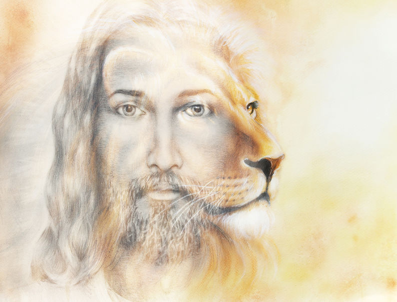 55750581 - painting of jesus with a lion, on beautiful colorful background, eye contact and lion profile portrait